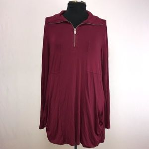 Cable & Gage Maroon Long Sleeve Tunic